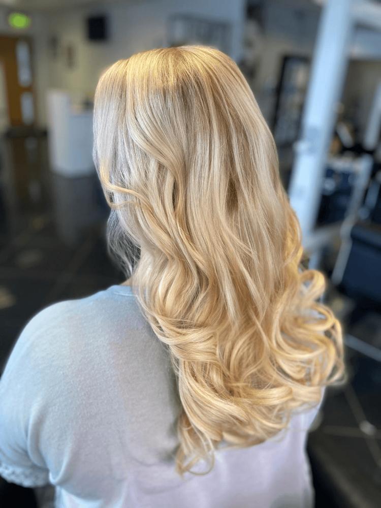 blonde hair back